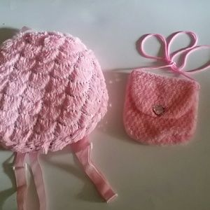 Other - Plush Backpack and Furry Crossbody In Pink